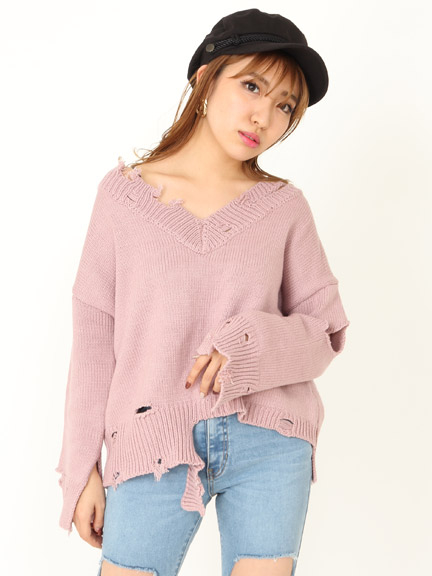 DAMAGE CROPPED KNIT